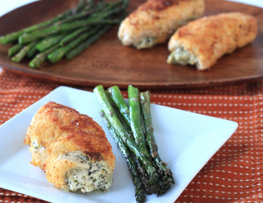 pesto and artichoke cream cheese stuffed chicken