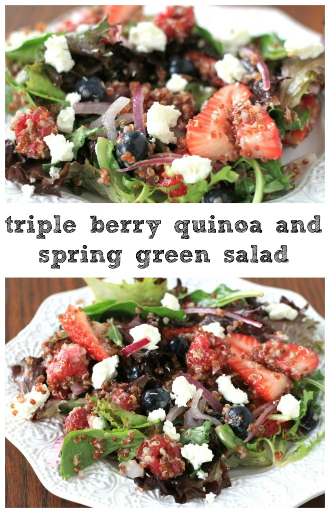Triple Berry Quinoa and Spring Green Salad