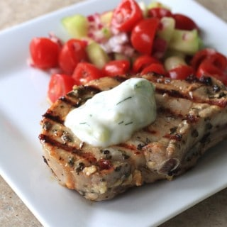 greek pork chops with tomato and cucumber salad