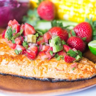 strawberry avocado salsa with grilled salmon