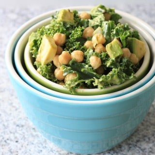 superfood week: kale, avocado, and chickpea salad with avocado dressing