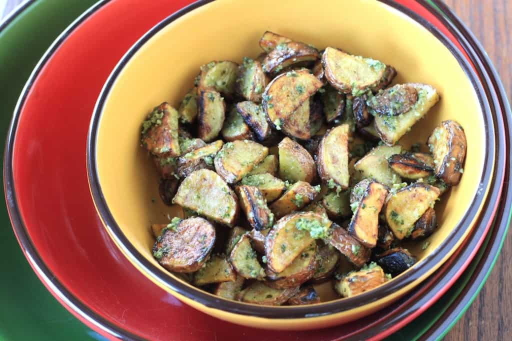 pesto grilled potatoes 2