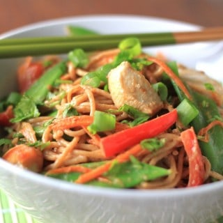 thai coconut peanut chicken noodles