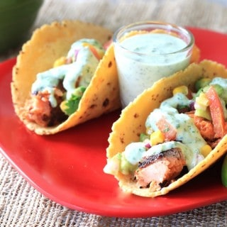 blackened salmon tacos with cilantro yogurt sauce
