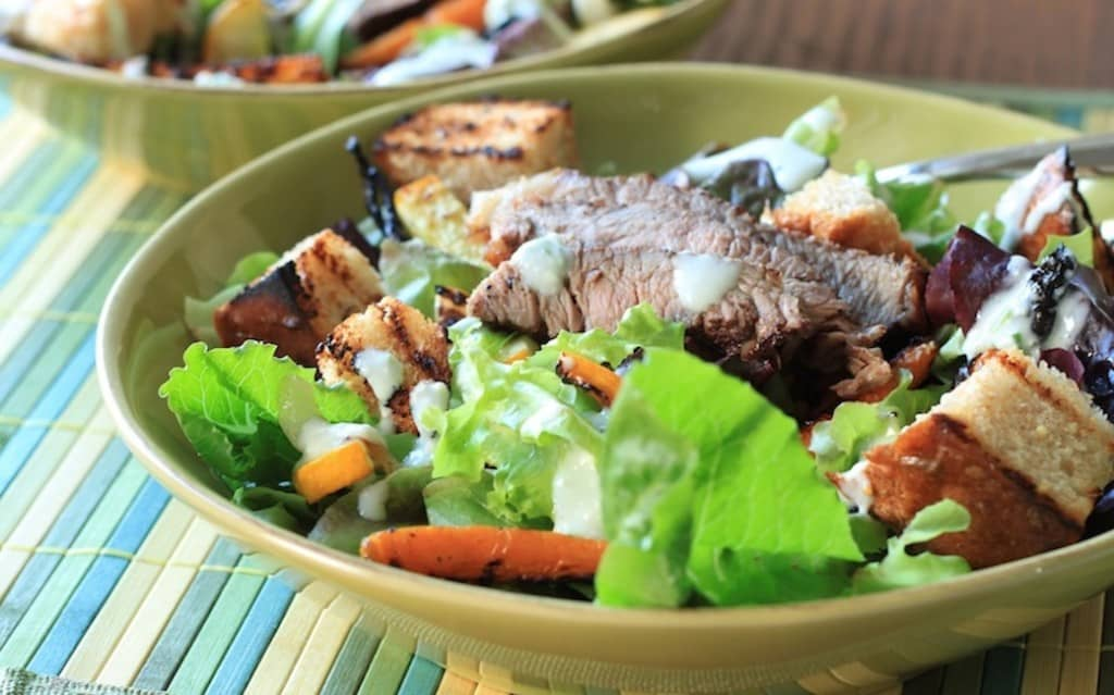 grilled veggie and steak salad 2