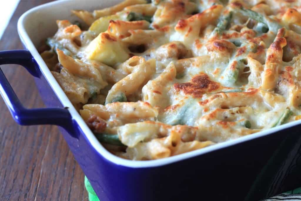 sausage and goat cheese baked pasta