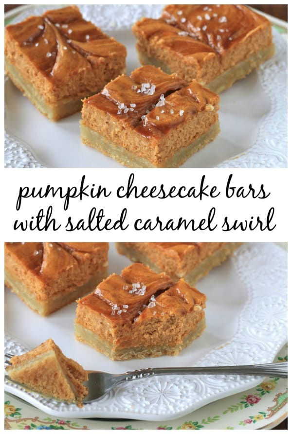 Pumpkin Cheesecake Bars with Salted Caramel Swirl