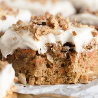 Healthy Carrot Cake Bars with Greek Yogurt Frosting