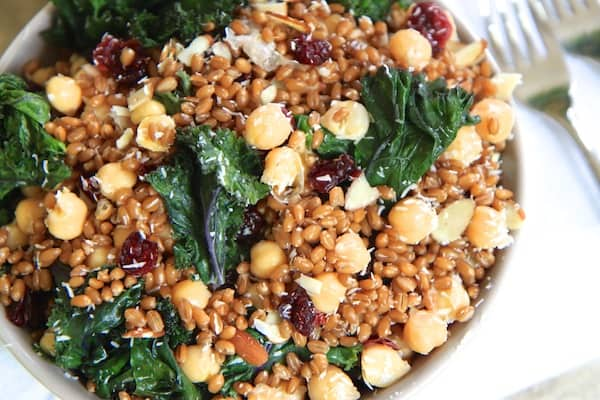Coconut and Kale Wheatberry Salad | greens & chocolate