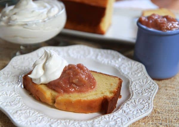 Vanilla Pound Cake with Rhubarb Compote