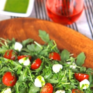 Caprese Arugula Salad with Basil Vinaigrette | greens & chocolate