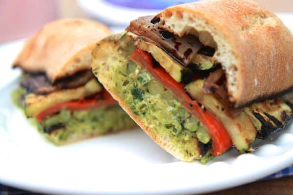 grilled veggie sandwich with chimichurri cream cheese spread | greens & chocolate