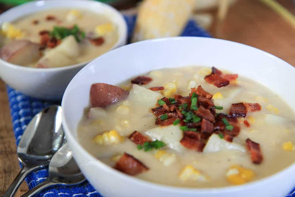 creamy (no cream!) corn chowder | greens & chocolate