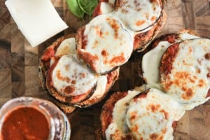Open-faced Eggplant Parmesan Sandwiches