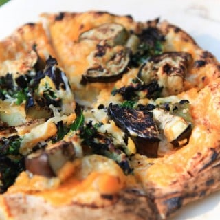 smoky squash, kale, and eggplant pizza