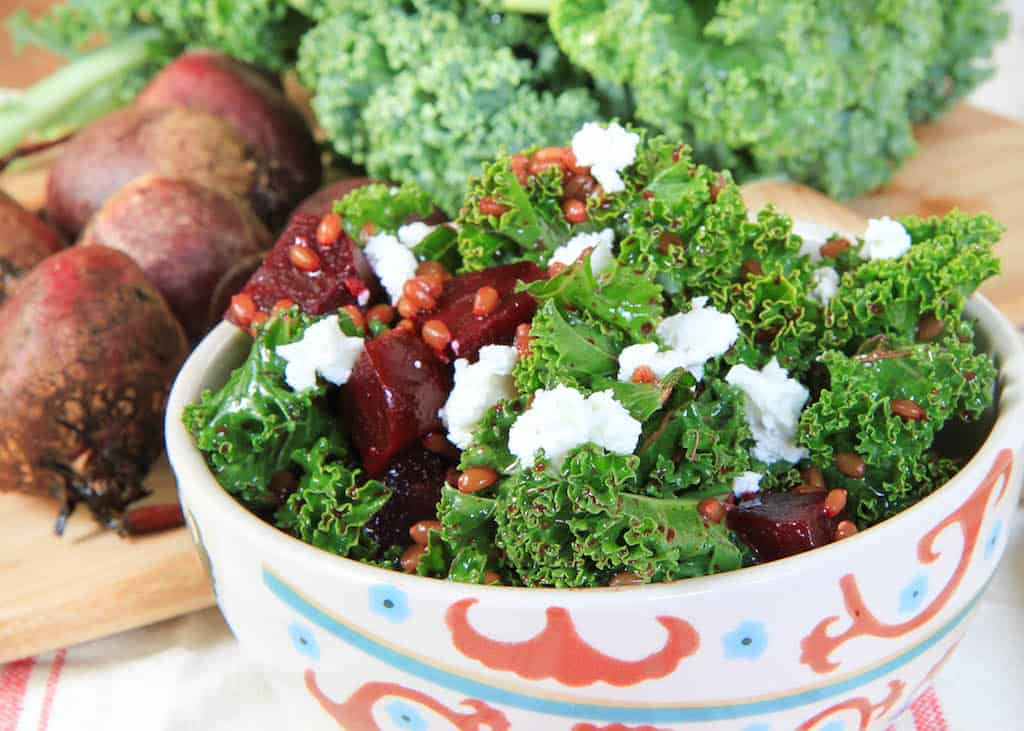 Beet and Kale Wheatberry Salad