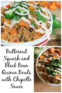 Butternut Squash and Black Bean Quinoa Bowls with Chipotle Sauce