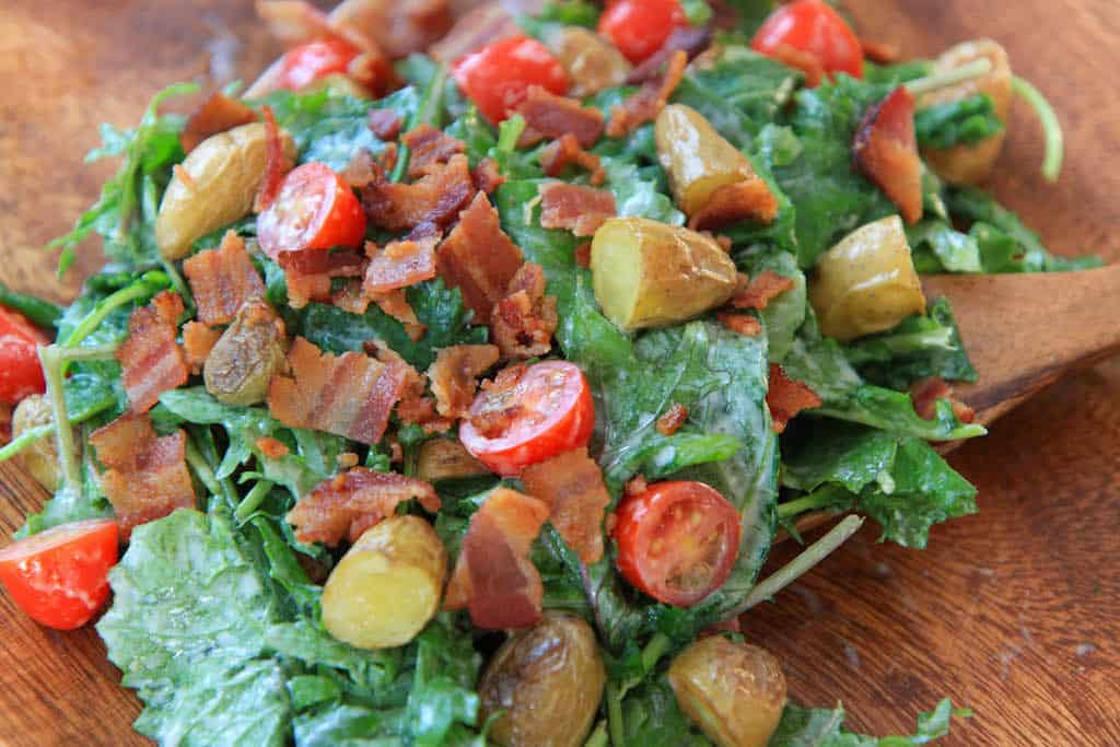 Baby Kale, Bacon, and Blue Cheese Salad
