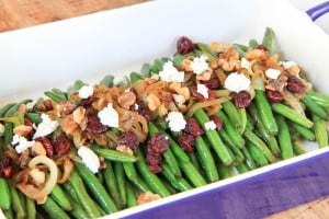 Brown Sugar Glazed Green Beans with Caramelized Onions, Cranberries, Walnuts and Goat Cheese Beautifully Arranged and Ready to Be Served