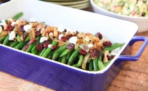Brown Sugar Glazed Green Beans with Caramelized Onions, Cranberries, Walnuts and Goat Cheese Recipe Lighter Closeup