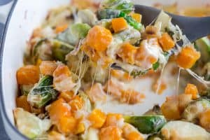 Butternut Squash Brussels Sprout Gratin Full of Cheese in a Spoon