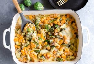 Butternut Squash Brussels Sprout Gratin - Trying One Spoon of This Delicious Gratin