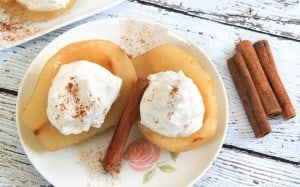 Cider Poached Pears with Cinnamon Whipped Cream