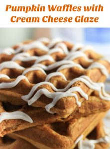 Pumpkin Waffles with Cream Cheese Drizzle