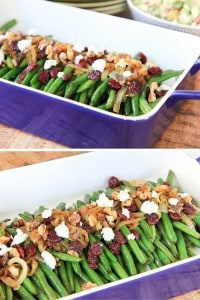Brown Sugar Glazed Green Beans with Caramelized Onions, Cranberries, Walnuts and Goat Cheese Image Collage