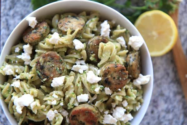 Sausage Feta and Almond Parsley Pesto Pasta