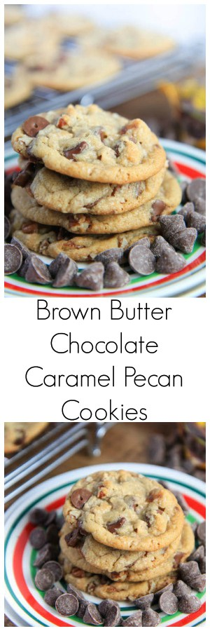 Brown Butter Chocolate Caramel Pecan Cookies collage with text overlay