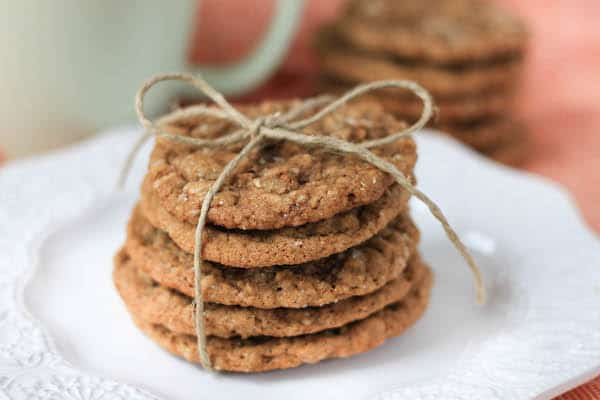 Brown Butter Oatmeal Ginger Cookies stacked in a cute little present