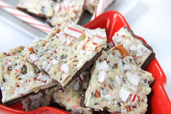 Plenty of Peppermint Pretzel Bark ready for the holiday party
