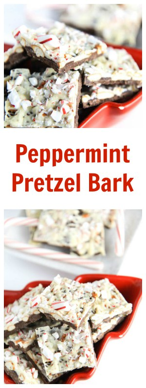 Peppermint Pretzel Bark collage with text overlay