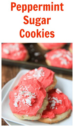 Peppermint Sugar Cookies collage with text overlay