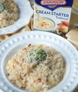 Leek and Pancetta Risotto - Extra Creamy! Served in a White Plate with a Pack of Crema Starter Traditional Alongside
