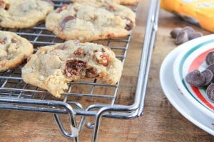 brown butter chocolate caramel pecan cookies