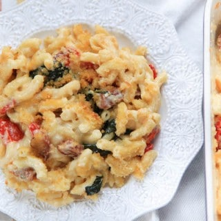 Salami Mac and Cheese with Roasted Red Pepper