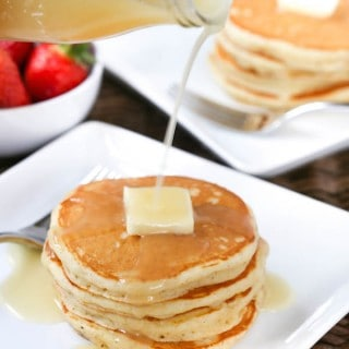 The Fluffiest Buttermilk Pancakes with Buttermilk Sauce
