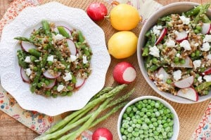 Spring Vegetable Grain Salad with Lemon Dill Dressing