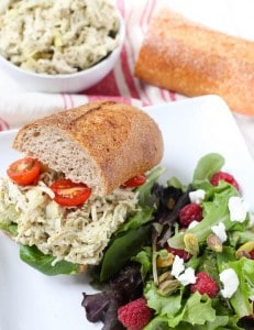 Artichoke and Pesto Chicken Salad Sandwich