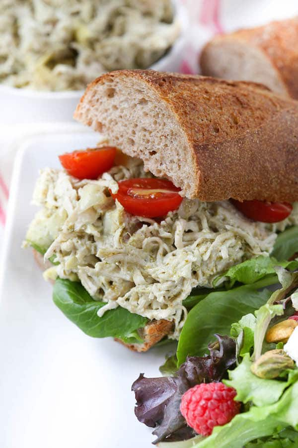 Aritchoke Pesto Chicken Salad Sandwich