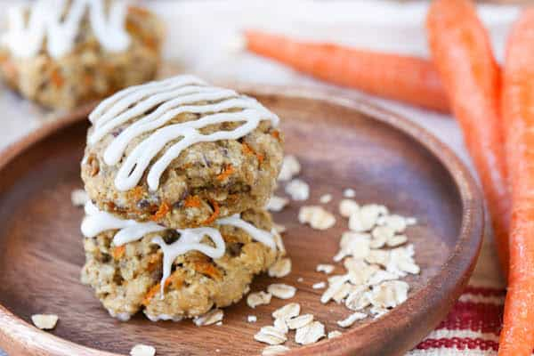 Carrot Cake Breakfast Cookies Beautiful Closeup with Carrots on the Side Blurred by the Camera