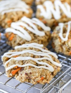 Carrot Cake Breakfast Cookies All Ready to Be Served with White Delicious Frosting on Top
