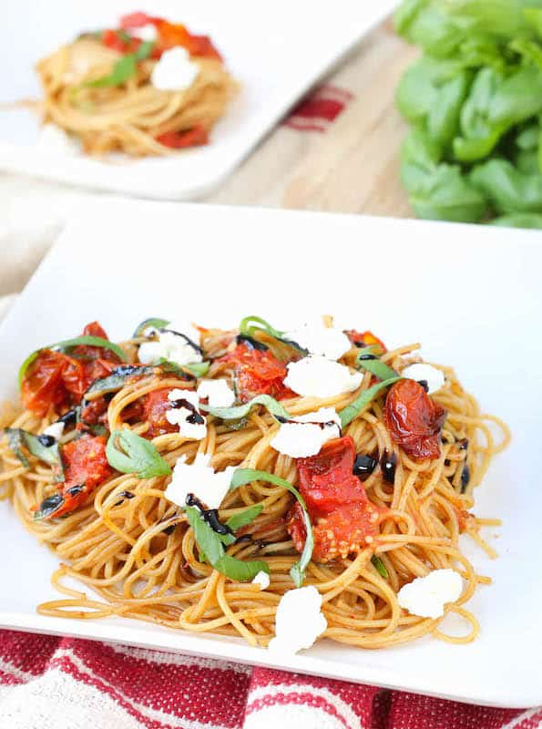 Roasted Tomato Basil and Goat Cheese Pasta