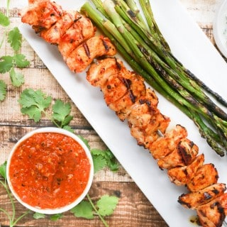 Grilled Harissa Chicken Skewers with Yogurt Dipping Sauce