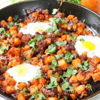 Harissa Chorizo and Sweet Potato Hash