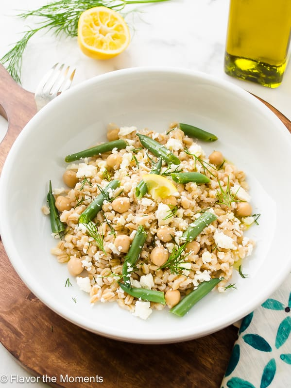 Pearl Barley Salad with Chickpeas Lemon and Feta