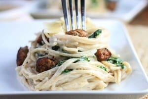 Sausage and Kale Pasta with Feta Sauce