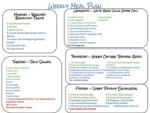 Weekly Meal Plan and Grocery List